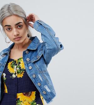 Короткая джинсовая куртка Parisian Petite. Цвет: синий