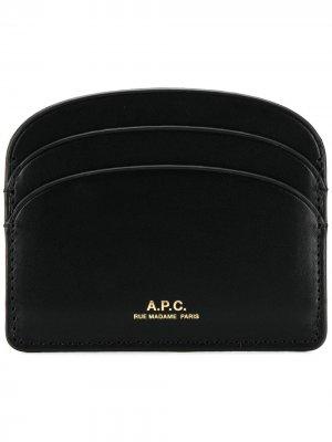 Картхолдер с логотипом A.P.C.. Цвет: черный