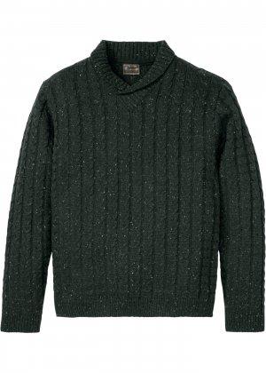 Пуловер с шалевым воротником bonprix. Цвет: зеленый