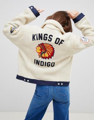 Джинсовая куртка с искусственным мехом и нашивками -Белый Kings Of Indigo