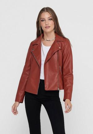 Куртка кожаная Only. Цвет: коричневый