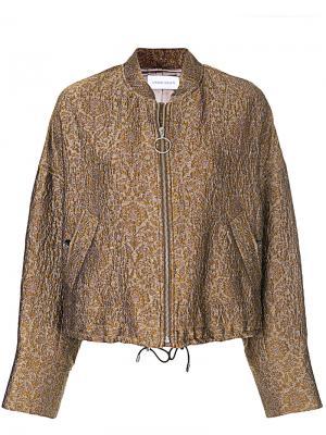 Куртка-бомбер с цветочным жаккардовым узором Christian Wijnants. Цвет: коричневый