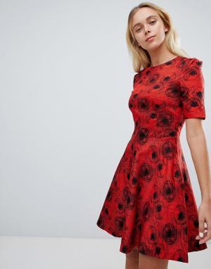 Короткое приталенное платье с абстрактным принтом -Красный Louche