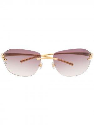Затемненные солнцезащитные очки без оправы Cartier Eyewear. Цвет: золотистый