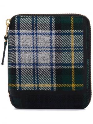 Клетчатый кошелек с круговой молнией Comme Des Garçons Wallet. Цвет: зеленый