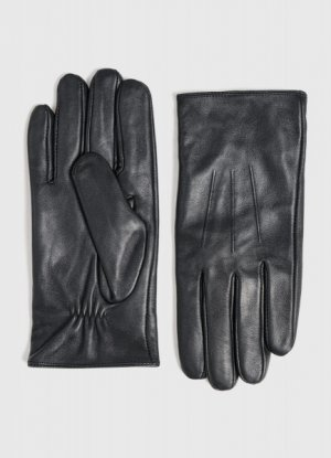 Кожаные перчатки O`Stin. Цвет: черный
