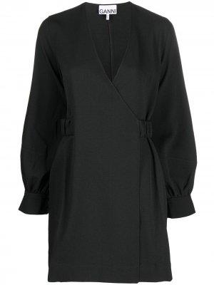 Платье с запахом и длинным рукавами GANNI. Цвет: черный