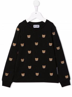 Толстовка с вышивкой Teddy Bear Moschino Kids. Цвет: черный