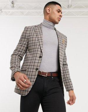 Приталенный блейзер в клетку -Коричневый Burton Menswear