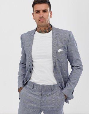 Приталенный пиджак в клетку -Серый Only & Sons