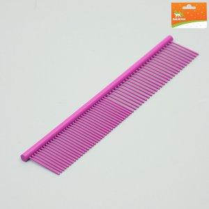 Расческа для шерсти с гальваническим покрытием, 18 х 3 см, фиолетовая Пижон