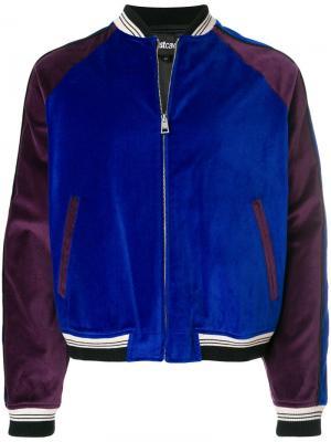 Куртка-бомбер с принтом звезд Just Cavalli. Цвет: синий