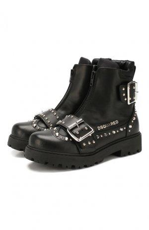 Кожаные ботинки Dsquared2. Цвет: черный