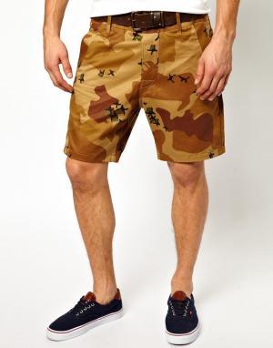 Камуфляжные шорты чиносы G Star Bronson G-Star. Цвет: nomad
