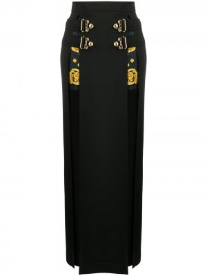 Юбка макси с пряжкой Versace Jeans Couture. Цвет: черный