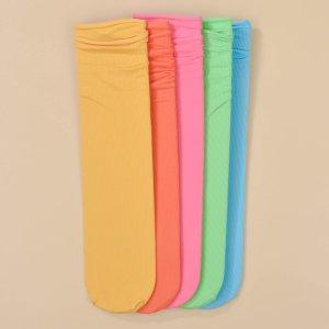 Для девочек 5 пар Однотонные носки до середины голени SHEIN. Цвет: многоцветный