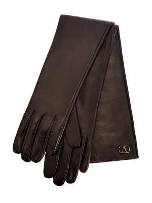 Перчатки из кожи наппа с рутениевым покрытием фурнитуры VALENTINO GARAVANI. Цвет: черный