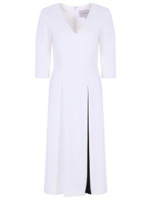 Коктейльное платье CAROLINA HERRERA. Цвет: белый