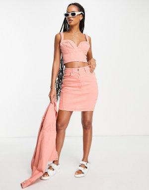 Персиковая джинсовая юбка от комплекта ASOS LUXE Hourglass-Оранжевый цвет