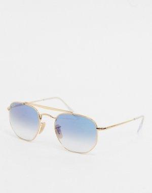 Золотистые солнцезащитные очки с синими стеклами Ray-ban ORB3648-Золотой