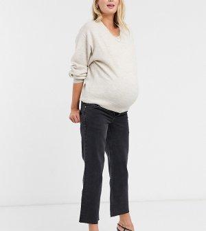 Черные расклешенные укороченные эластичные джинсы с завышенной талией поясом над животом ASOS DESIGN Maternity-Черный цвет Maternity