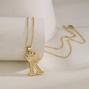 18K Позолоченное ожерелье с текстовым декором и цирконом SHEIN. Цвет: золотистый