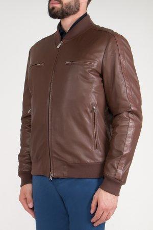 Куртка из коричневой перфорированной кожи BILANCIONI. Цвет: коричневый