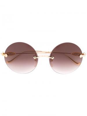 Солнцезащитные очки в круглой оправе Chrome Hearts. Цвет: металлический