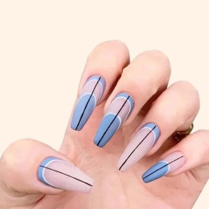 24шт Накладные ногти и 1 лист лента пилочка для ногтей SHEIN. Цвет: синий