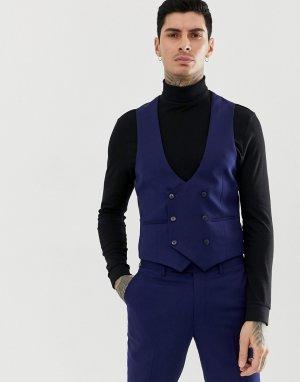Темно-синий двубортный приталенный жилет с добавлением шерсти Gianni Feraud