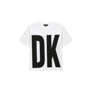 Хлопковая футболка DKNY. Цвет: белый