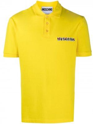 Рубашка поло с вышитым логотипом Moschino. Цвет: желтый