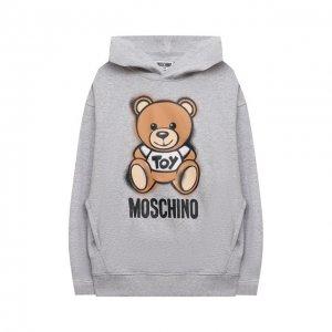 Хлопковое худи Moschino. Цвет: серый