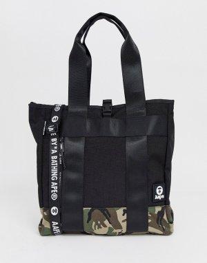 Черная сумка-тоут с камуфляжным принтом AAPE By A Bathing Ape. Цвет: черный