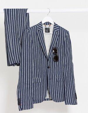 Темно-синий льняной пиджак скинни в полоску Avail London
