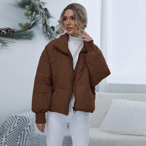 Утепленная куртка на молнии SHEIN. Цвет: кофейный коричневый