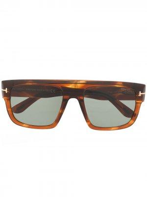 Солнцезащитные очки в квадратной оправе с эффектом черепашьего панциря TOM FORD Eyewear. Цвет: оранжевый