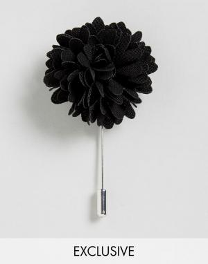 Булавка на лацкан с черным цветком эксклюзивно для ASOS Noose & Monkey. Цвет: черный