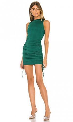Платье со сборкой сбоку cory superdown. Цвет: зеленый