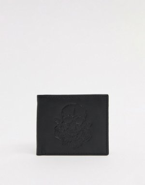 Кожаный бумажник с тиснением в виде черепа -Черный цвет Bolongaro Trevor
