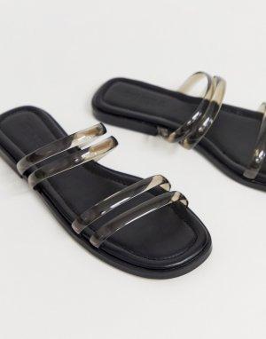 Сандалии-слипоны с прозрачными ремешками и квадратным носком Truffle Collection. Цвет: черный