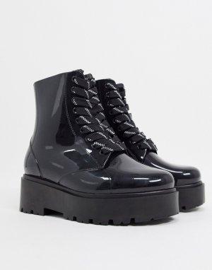 Черные резиновые сапоги на шнуровке -Черный ASOS DESIGN