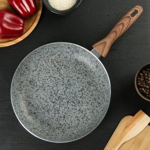 Сковорода 26 см mountain grey, антипригарное гранитное покрытие, ручка soft-touch, индукционное дно Доляна