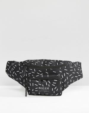 Сумка-кошелек на пояс с принтом Nicce London. Цвет: черный