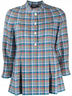Блузка в клетку с баской A.P.C.. Цвет: синий