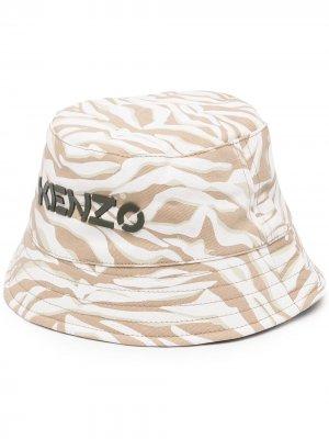 Панама с зебровым принтом и вышитым логотипом Kenzo Kids. Цвет: коричневый