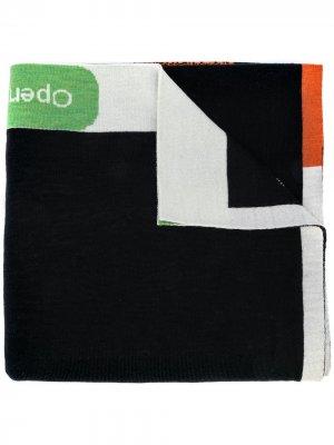 Трикотажный шарф с узором Bernhard Willhelm. Цвет: черный