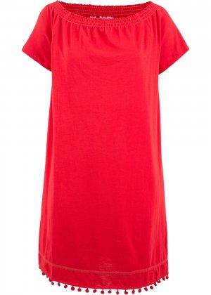 Платье с широким вырезом bonprix. Цвет: красный