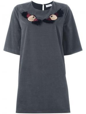 Платье-футболка с вышивкой птиц Au Jour Le. Цвет: серый