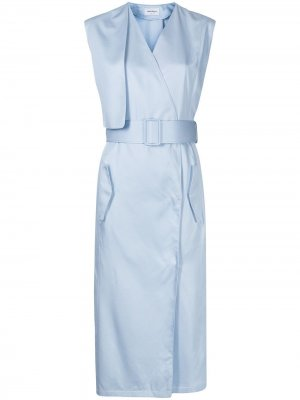 Платье миди с поясом Salvatore Ferragamo. Цвет: синий